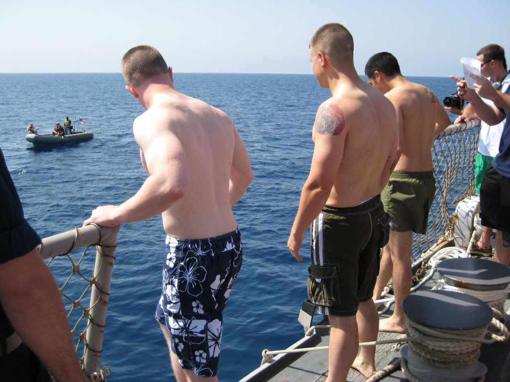 Jumping overboard for Swim Call off the Coast of Yemen 3