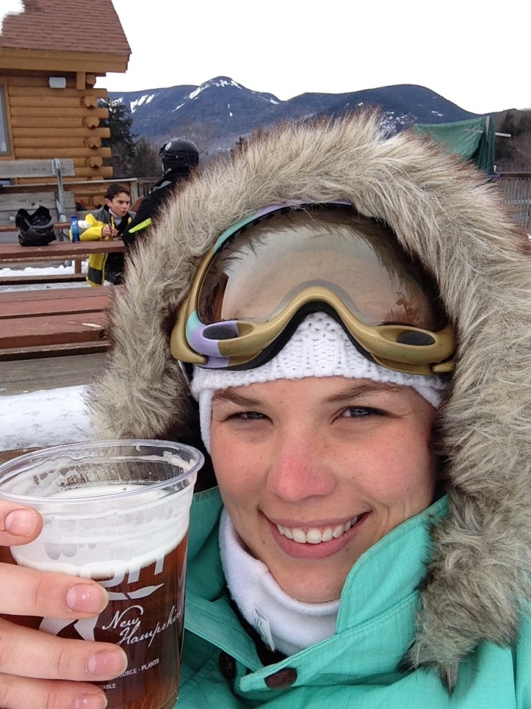 Beer on the mountain, skiing