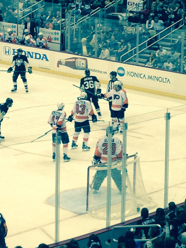 Close up on the ice Penguins vs. Flyers at Pittsburgh