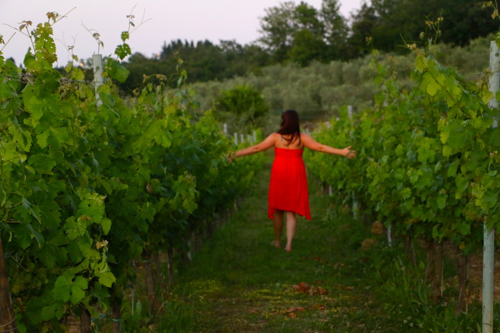 Running through the grape vine