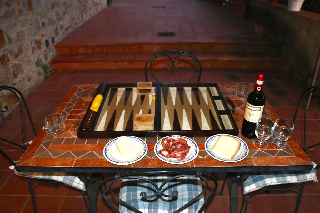 backgammon and wine