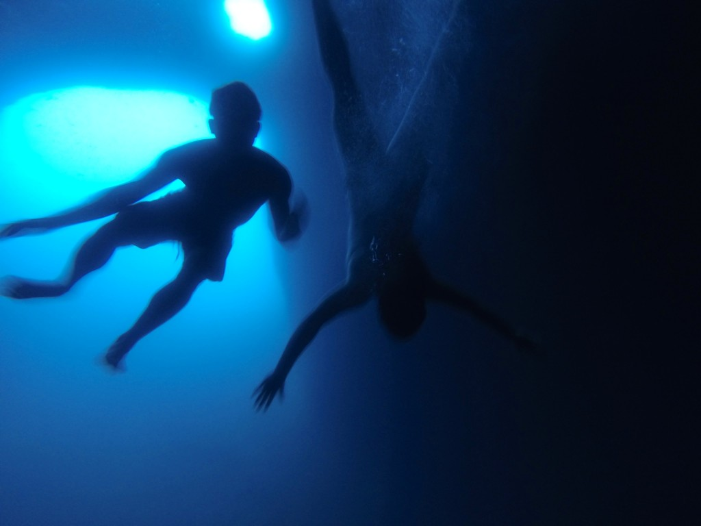 Swimming inside Blue Grotto Capri