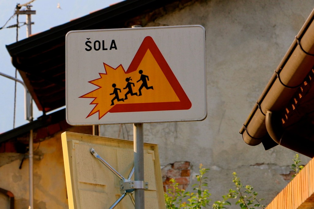 School Crossing Sign, Slovenia